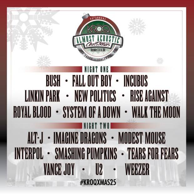 "System Of A Down, Weezer, Linkin Park y Royal Blood en el cartel del ""KROQ Almost Acoustic Christmas"""