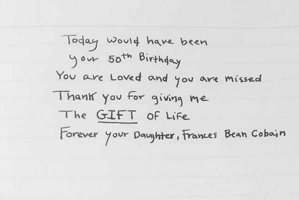 Frances Bean Cobain recuerda a su padre en el que habría sido su quincuagésimo cumpleaños